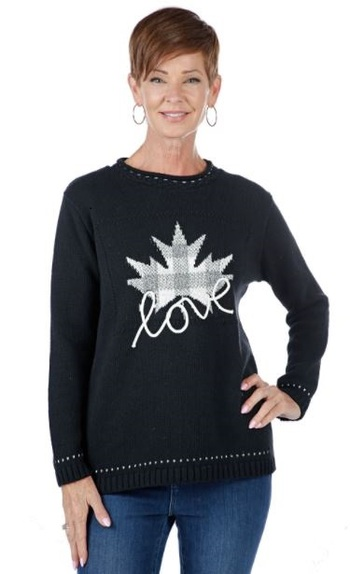 Cotton Country Canada Love Pullover Sweater, Colour: Black Combo , Size: Small, Retail: $100.00 CAD