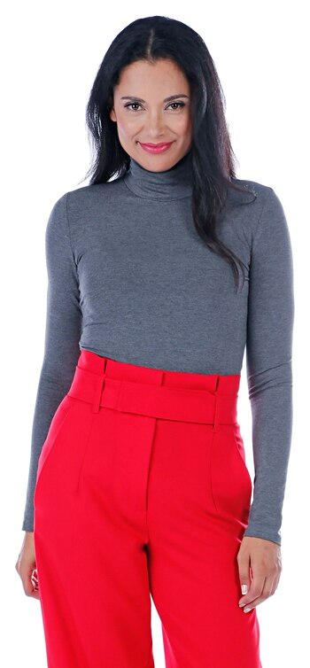 Tracy Moore Women's Jersey Turtleneck, Charcoal Grey, Size XS, Retail: $95.00