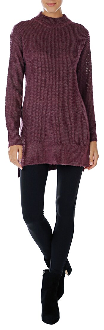 Pink Tartan Women's Waffle Funnel Neck Tunic, Burgundy, Size L, Retail: $98.00