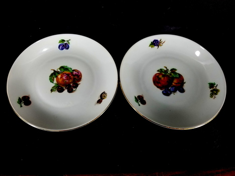 Two German Kahla Plates Hand Painted Fruit
