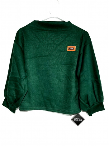 Badge Patched Lantern Sleeve Sweatshirt Dark Green Size M