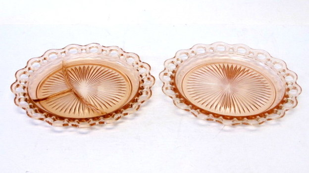 2 Vintage Pink Depression Glass Old Colony Serving Dishes