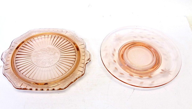 2 Vintage Pink Depression Glass Serving Plates