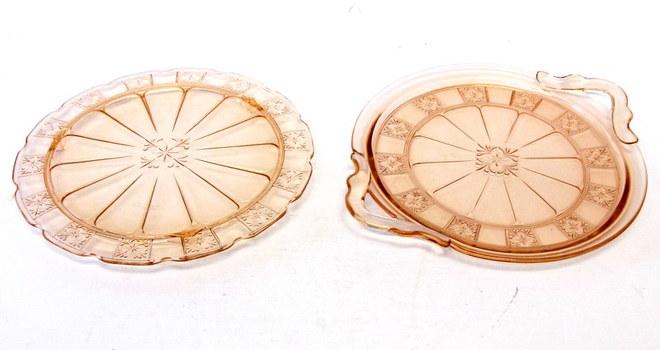 2 Vintage Jeannette Doric Pink Depression Glass Cake Plates