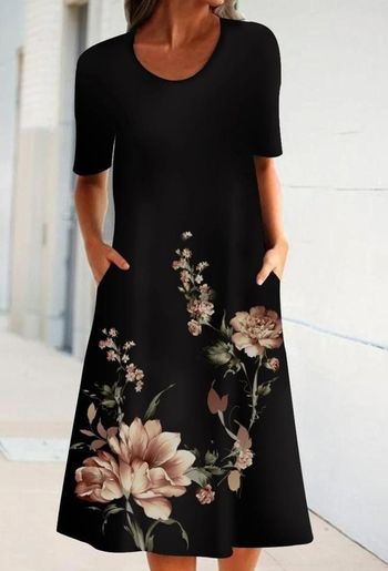 SHORT SLEEVE BLACK FLORAL PRINT CASUAL DRESS-SIZE 2XL