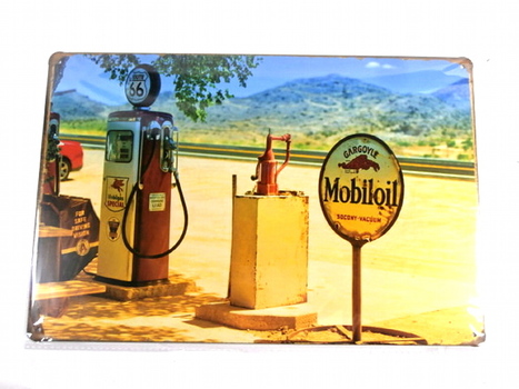 Route 66 Mobil Gas Station Metal Sign