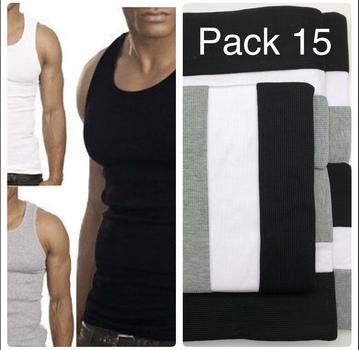 Mens 15 Pack Athletics Tank Top 100% Cotton Size Large