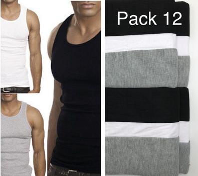 Mens 12 Pack Athletics Tank Top 100% Cotton Size Large