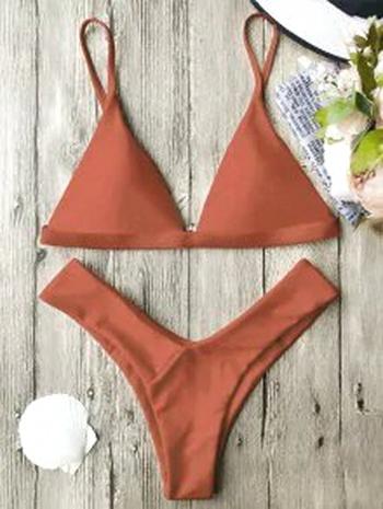 NWT Soft Pad Spaghetti Straps Thong Bikini Set - Burnt Orange S