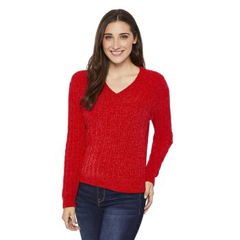 GEORGE Womens' Chenille V-Neck Sweater Size XS Red