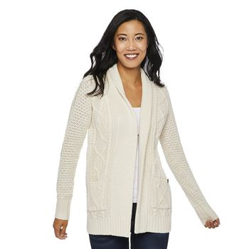 CANADIANA Womens' Cable Knit Cardigan Size L