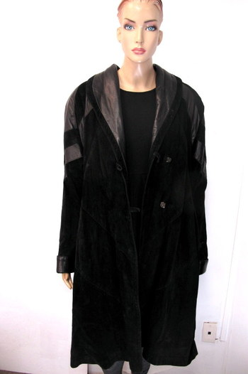Women's Suede/Leather Coat - Size Large