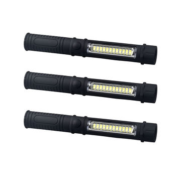 Lot of 3 Super Bright COB LED Pocket Pen Light Inspection Work Light Flashlight with Clip