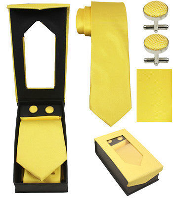 Tie Cuff-link Handkerchief Set Combo Plain Color and Designer Tie Cuff-link Set - Yellow