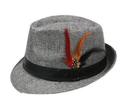 Fedora with Band & Feather Hat Vintage Style - Grey