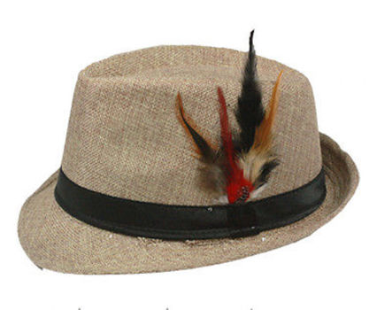 Fedora with Band & Feather Hat Vintage Style - Light Brown