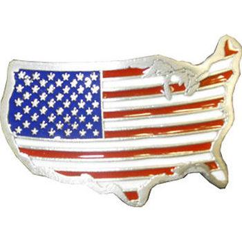 United States American Map Flag Metal Belt Buckle
