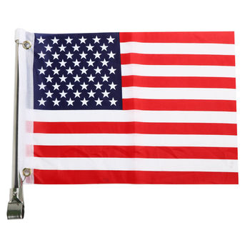15.4'' Marine Boat American Flag USA Stainless Steel Pole Rail Mount