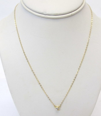 10 Kt Gold Chain Necklace with Cubic Zirconia