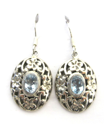 Vintage Sterling Silver and Aquamarine Earrings