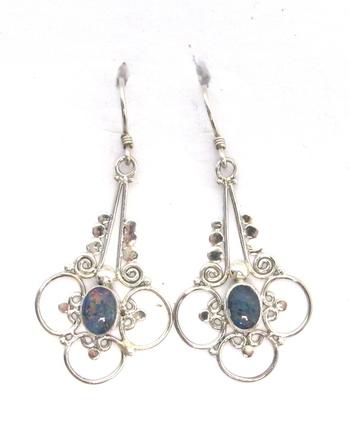 Vintage Sterling Silver and Opal Earrings