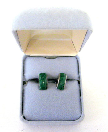 Vintage Silver and Malachite Earrings