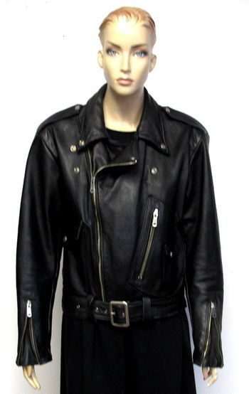 Women's Black Leather Motorcycle Jacket-Size S/M