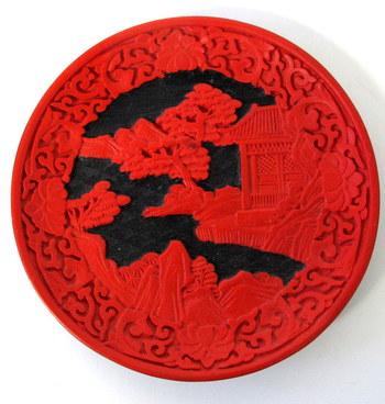 Chinese Red Cinnabar Plate