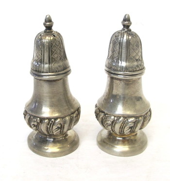 Vintage Silver Plated Zinc Salt and Pepper Shakers