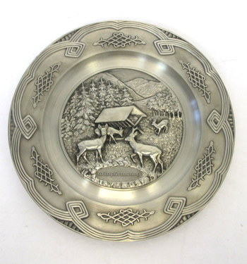 Vintage Decorative Pewter Hanging Plate