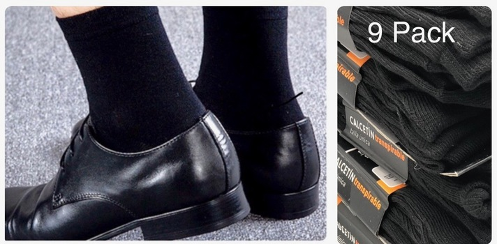 Mens 9pk Classic Light Weight Super Soft Cotton Black Dress Socks Size 10-13 style 11