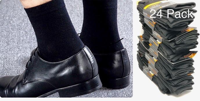 Mens 24pk Classic Light Weight Super Soft Cotton Black Dress Socks Size 10-13