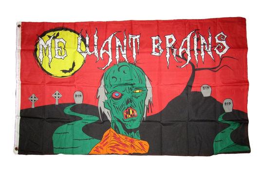 Halloween Zombie Me Want Brains Flag 3' x 5' Brass Grommets