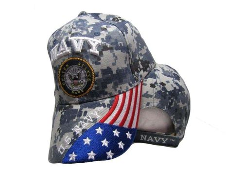 U.S. Navy Cap USA Flag ACU Camo Embroidered Cap Hat Licensed