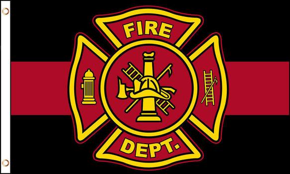 Fire Department Thin Red Line Flag 3 x 5 ft Maltese Cross Firemen