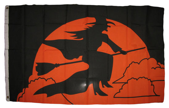 Halloween Witch Broom Flag 3' x 5' With Banner Grommets
