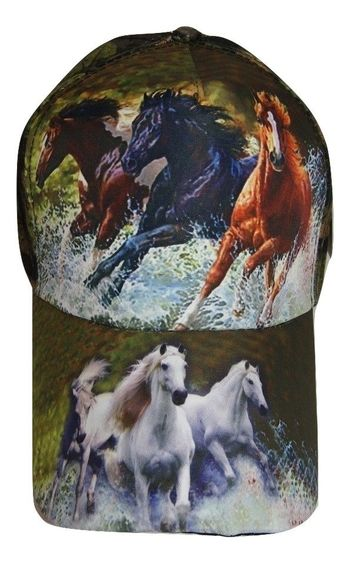 Three Horse Running Horses Camo Camouflage Printed Baseball Cap Hat