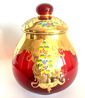 RARE Vintage Ruby Red Glass and Gold Leaf Punch Tureen/Bowl