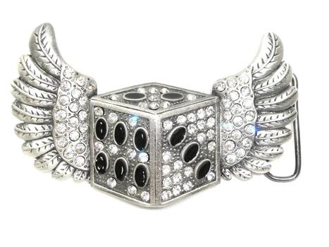 Dice & Wings Rhinestones Metal Belt Buckle New