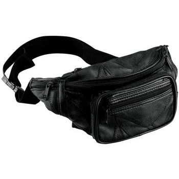 Maxam Black Leather Fanny Pack - New