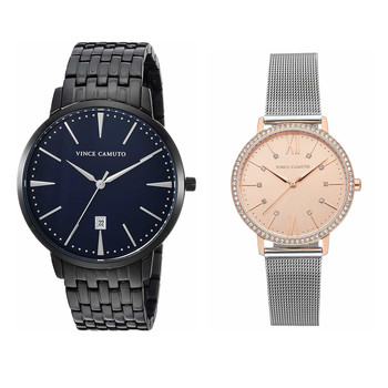 Set of Two Stylish His & Hers Vince Camuto Watches - Total Retail $550 Swarovski Crystals On Hers