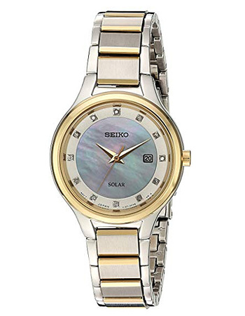 Seiko Women's 'Diamond Dial Dress' Quartz Stainless Steel Casual Watch, Color:Two Tone (Model: SUT318)