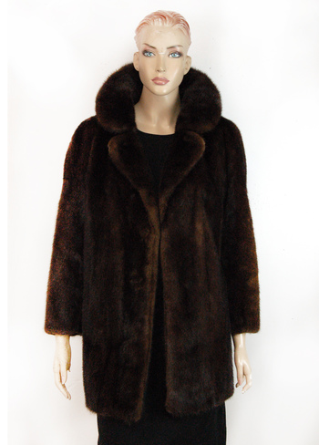 Women's 3/4 Length Mahogony Mink Jacket - Size M - Cold Storage Value $4,000.00