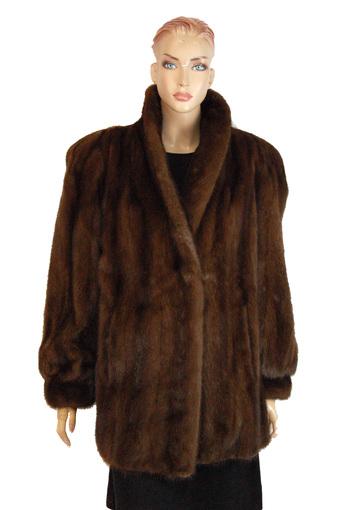"Women's 3/4"" Length Dark Brown Mink Jacket - Size L - Cold Storage Value $4,255.00"