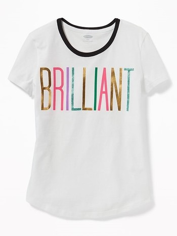 Graphic Curved-Hem Tee for Girls Brilliant L