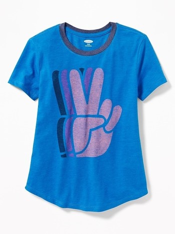 Graphic Curved-Hem Blue Tee for Girls Peace L