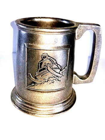 "VTG John Deere Snowmobile Pewter Mug 1980's ""Ride The New Breed of Deere"""
