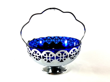Cobalt Blue Glass Condiment Bowl in A Chrome Plate Holder