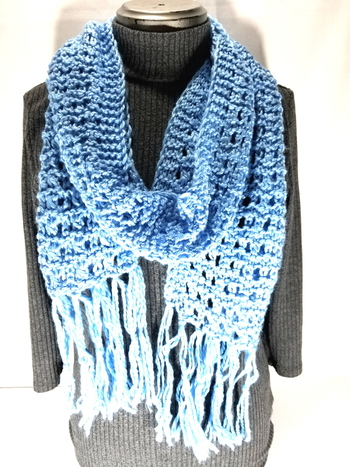 Chunky Hand Knitted Wool Scarf with Fringe - Light Blue