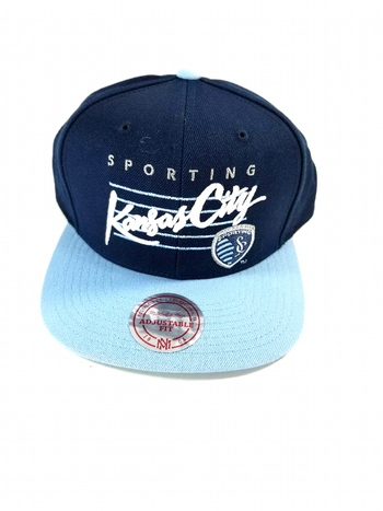 NWT Mitchell and Ness Sporting Kansas City 2 Tone Team Logo Snapback Cap - Blue/Navy